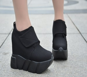 2020 new thick-soled wedges women's shoes Korean version of the versatile high-heeled shoes increased casual Canvas shoes 12 cm