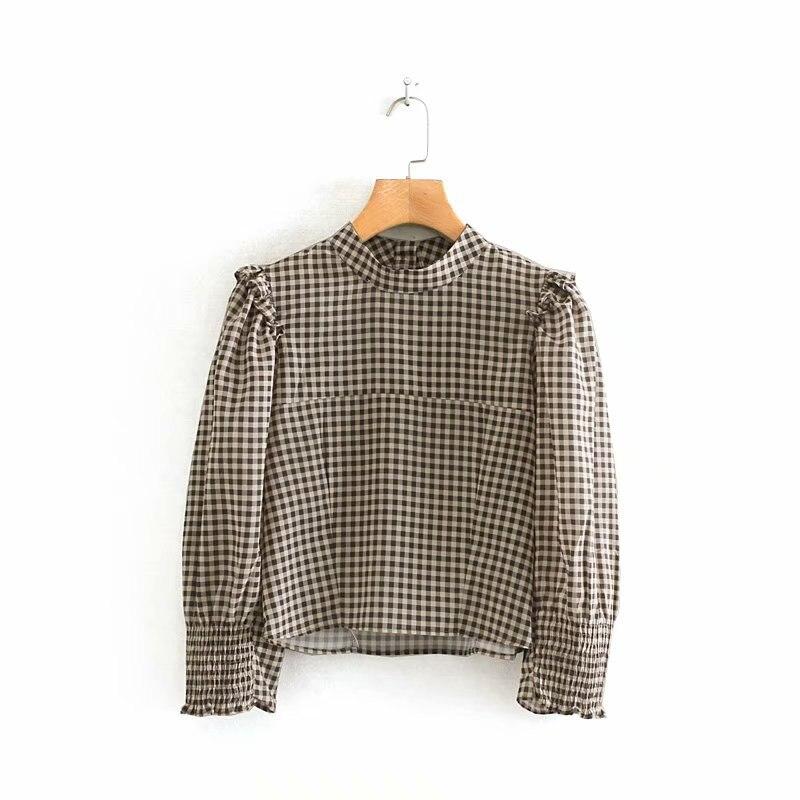 Women Vintage Stand Collar Plaid Print Short Shirt Ladies Agaric Lace Decorate Blouses Chic Autumn Retro Back Button Tops LS4316