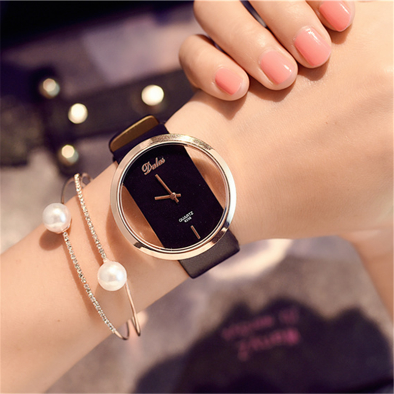Female Watch Dial Metal-Edge Korean Couple Trends Transparent Fashion Lovers Quartz Round