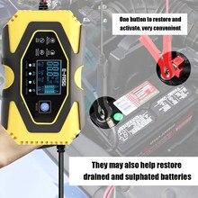 12v/24v carregador de bateria de carro automático completo energia pulso reparação carregadores seco molhado leadacid lifepo4 bateria-carregadores display digital