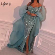 Модные бирюзовые блестящие платья русалки для выпускного вечера
