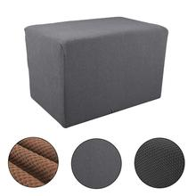 Jacquard Polyester Footstool Cover Stretch Ottoman Slipcover Knitted Honeycomb Sofa Home Textile