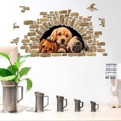 Cute three puppies Wall Stickers Bedroom living room for Home Decor kids room decals background decoration lovely dogs sticker