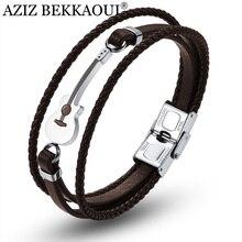 AZIZ BEKKAOUI коричневый нержавеющая сталь браслеты с гитарой Черный индивидуальный логотип кожаный браслет для мужчин Веревка Браслет дропшиппинг
