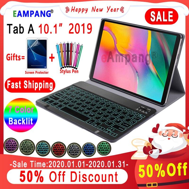 Pokrowiec na Samsung Galaxy Tab A 10.1 2019 obudowa na klawiaturę T510 T515 SM-T510 SM-T515 skórzany pokrowiec 7 kolorów podświetlana klawiatura Bluetooth