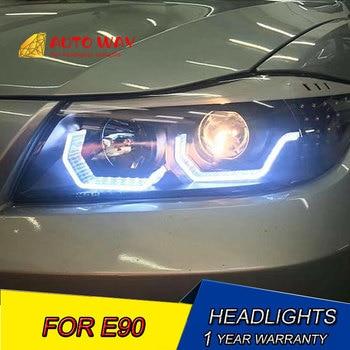 Car styling LED HID LED E90 headlights case for BMW E90 2005-2012 E90 headlight Bi-Xenon Lens low beam