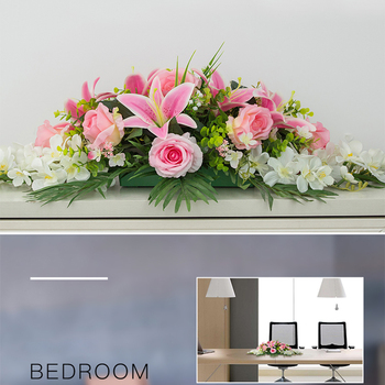 custom Artificial flower conference table flower row rose lily leaf wedding party decor table centerpieces diy flower runner