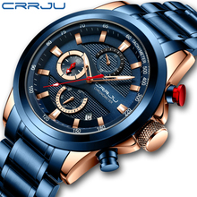 цена на CRRJU Stainless Steel Watches for Mens 2020 New Leisure Chronograph Calendar Clock Men WristWatch Quartz Watch reloj hombre