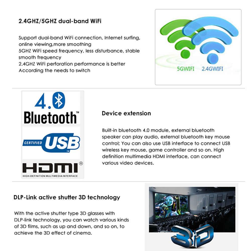 D5 블루투스 안드로이드 미니 프로젝터와 스마트 와이파이 포켓 휴대용 프로젝터 홈 시어터 비머 지원 미라 캐스트 Airplay
