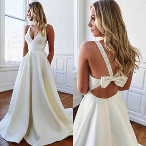 Pure White Satin A Line Wedding Dresses Backless With Bow Bridal Gowns Deep V Neck Sleeveless Summer Cheap Dress