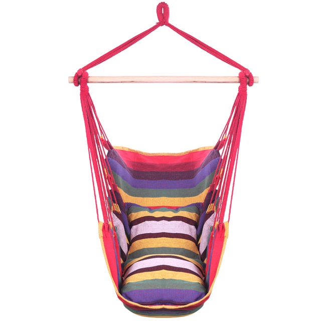 Distinctive Cotton Canvas Hanging Rope Chair with Pillows Rainbow hanging bed Garden Hang Lazy Chair Swinging Indoor Outdoor 1