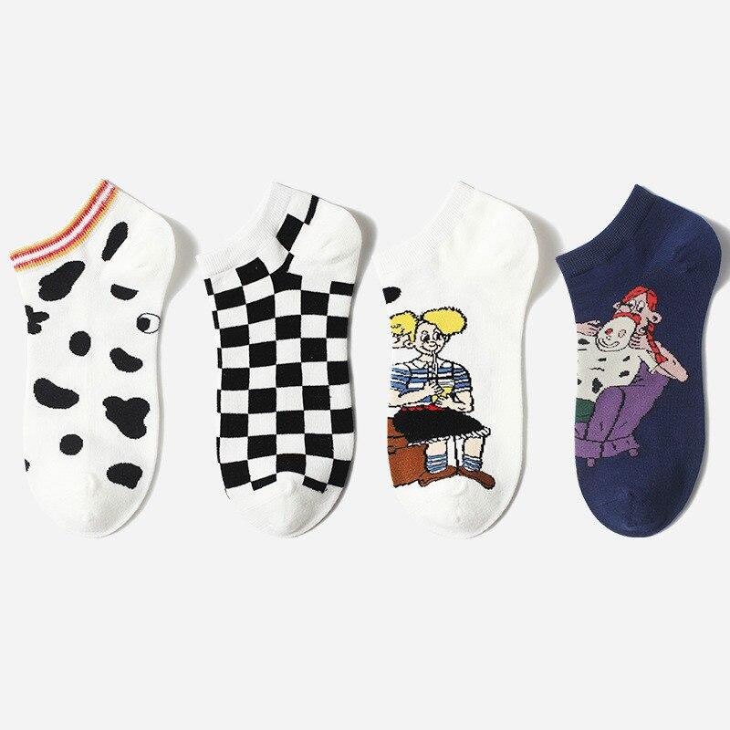 Жаккардовые носки с рисунками из мультфильмов, пара носков для отдыха для женщин, уличные носки для скейтборда, сетчатые мужские носки, Q1602