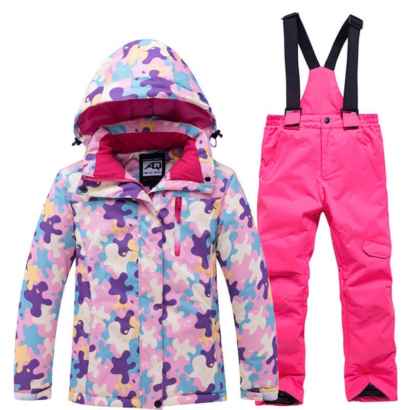 冬スキースーツジャケットパンツ子供迷彩暖かい防風防水雪セット屋外冬服子供のスキー摩耗