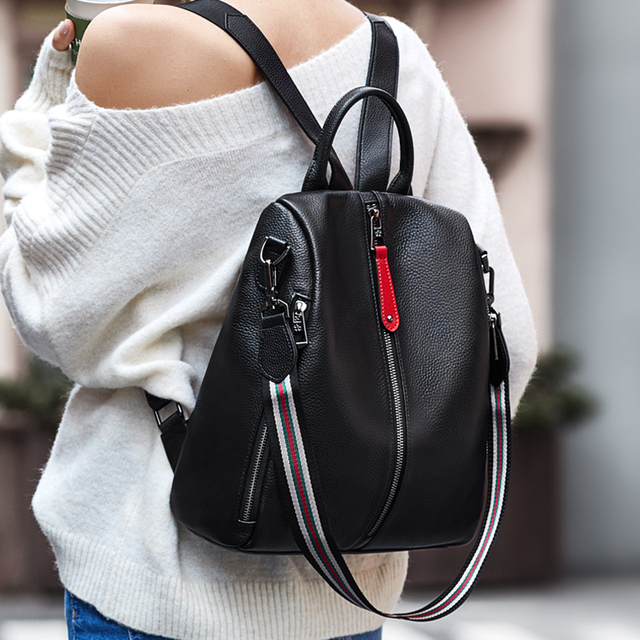 ZOOLER 2020 NEW Black Travel Bag Real Leather Backpack Women Genuine Leather Backpacks Fashion Luxury Backpack Bags Girls#HS209