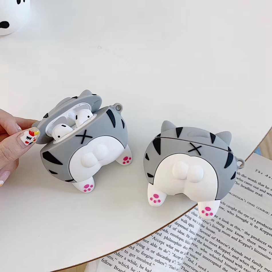 3D หูฟังสำหรับ Airpods กรณีซิลิโคนการ์ตูนหมีน่ารักสำหรับ Apple AIR pods 2 สำหรับ EarPods กรณีหูฟัง 1