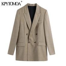 موضة 2021 للنساء KPYTOMOA سترة فضفاضة بأزرار مزدوجة الصدر معطف عتيق بأكمام طويلة وجيوب ملابس خارجية نسائية أنيقة