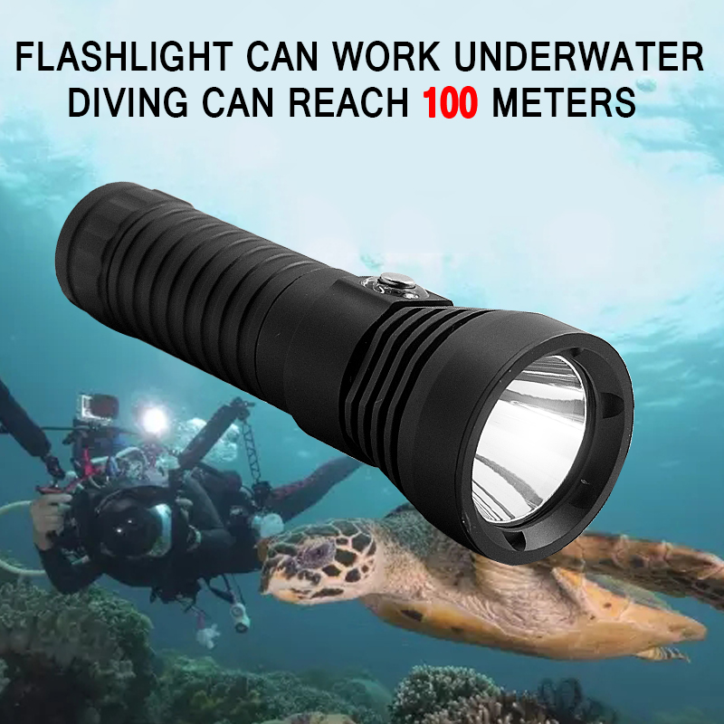 Waterproof XM-L2 LED Diving Flashlight 2000 Lumen Dive Lantern White Light Underwater Torch 18650 Lamp For Camping Hunting