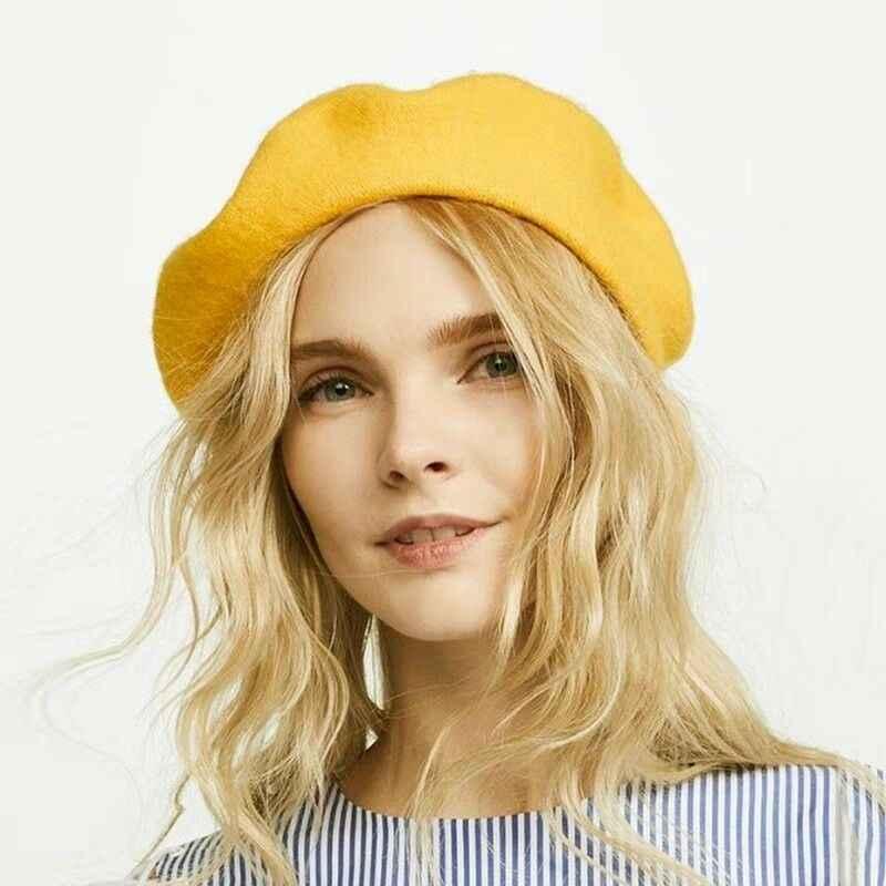 ฤดูหนาวWarm Fauxขนสัตว์Beretผู้หญิงภาษาฝรั่งเศสคำศิลปินBeanieหมวกหมวกสีแดงสีดำสีม่วงBeige Orange Kawaii Flat Topหมวกอุ่น