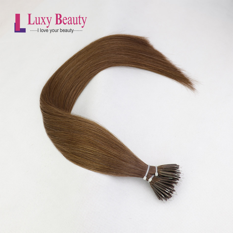 LuxyBeauty Nano Hair Extensions #6 Middle Brown 12