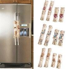 2 uds cocina de moda decorativa fácil de instalar refrigerador mágico pegatina lavable manija de la puerta cubierta de encaje Vintage horno microondas