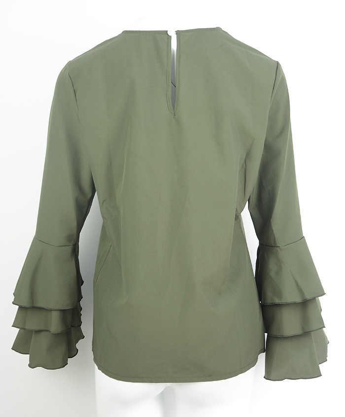 PLUS ขนาด 5XL ผู้หญิง Elegant TOP แขนผีเสื้อชีฟองฉัตรเสื้อหญิงยาวแขนยาว O-Neck เสื้อลำลองหลวม Tops