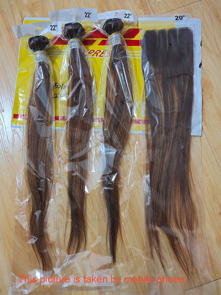 Highlight 3 Bundles With Closure    Bundles With Frontal Colored Applegirl Straight  Hair 4PCS/LOT 5