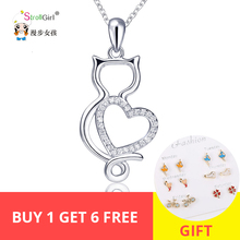 StrollGirl Cute Kitty Necklace Girl 925 Sterling Silver Cat Cubic Zirconia Love Heart Pendant Necklace For Women Fashion Jewelry equte spew23c3 lovely kitty cat s eye pendant necklace golden white 30