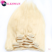 Silkswan волосы бразильские средний коэффициент Рэми прямые волосы на заколках для наращивания, Пряди человеческих волос для наращивания#613 8 шт./компл. для наращивания на всю голову комплекты 100 г