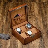 Caixa de relógio de madeira retrô  caixa quadrada de organização e suporte para chaves  para relógios masculinos organizador de relógio