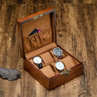Retro Wooden Watch Box with Key Watch Holder Box For Watches Men Rectangle/Square Jewelry Organizer Box 6 Grids Watch Organizer