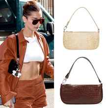 2019 Ins Fashion Designer Bags Womens Vintage Crocodile Baguette Handbags Messenger Bag PU Leather
