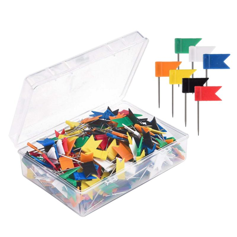 100x Assorted Color Map Push Pins Flag Marker Drawing Pins for Notice Boards