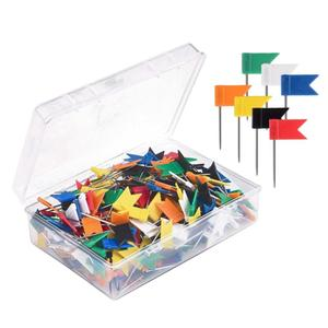 100pcs Map Flag Push Pins Tacks Steel Tacks with Plastic Flags Head for Travel Map Cork Board Bulletin (Random Color)