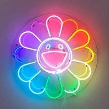 Custom Smiley Sun Flower Glass Neon Light Sign Beer Bar