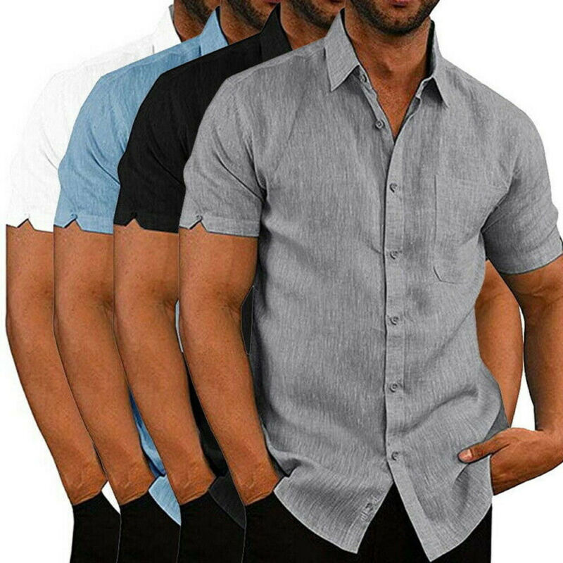 Mens Linen Blouse Short Sleeve Baggy Buttons Summer Solid Comfortable Pure Cotton And Linen Casual Loose Holiday Shirts Tee Tops 3