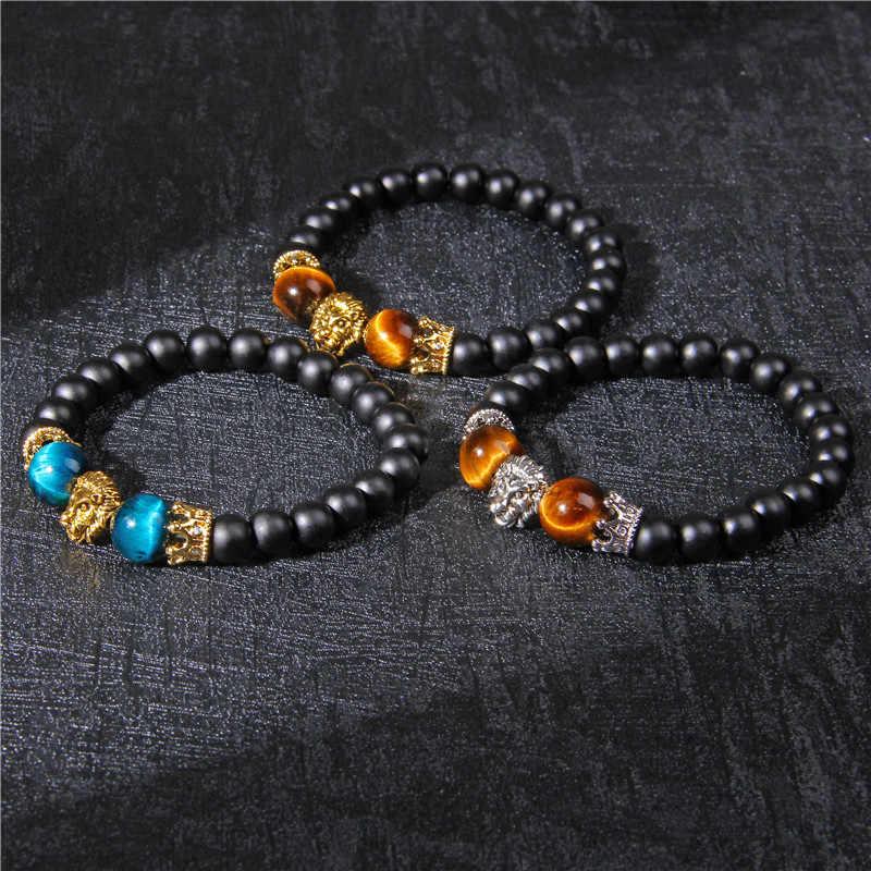 Bracelet en pierre oeil de tigre bleu Royal hommes 2019 vente chaude perle d'onyx noir mat or Bracelet à breloques tête de Lion femmes bijoux chanceux