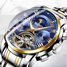 цена на BIDEN Fashion Mens Watch Waterproof Automatic Mechanical Watches Moon Phase Week Display Wristwatches Male Clock Erkek Kol Saati