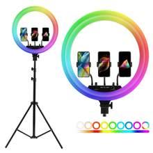 14 polegada 18 polegada photo studio iluminação led rgb anel luz fotografia pode ser escurecido grande lâmpada com 200cm tripé para vídeo, maquiagem