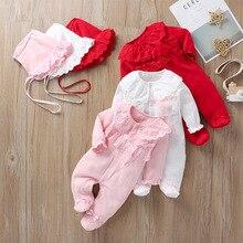 Одежда для маленьких девочек Комбинезон из хлопка с длинными рукавами и кружевом для новорожденных+ шапочка, комплект одежды на крестины из 2 предметов, рождественский подарок для малышей, Новинка