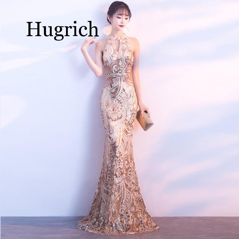 Gold Embroidery Mermaid Chinese <font><b>Sexy</b></font> Sequins Oriental Party Female Cheongsam Stage Show Qipao Elegant Celebrity Banquet <font><b>Dresses</b></font> image
