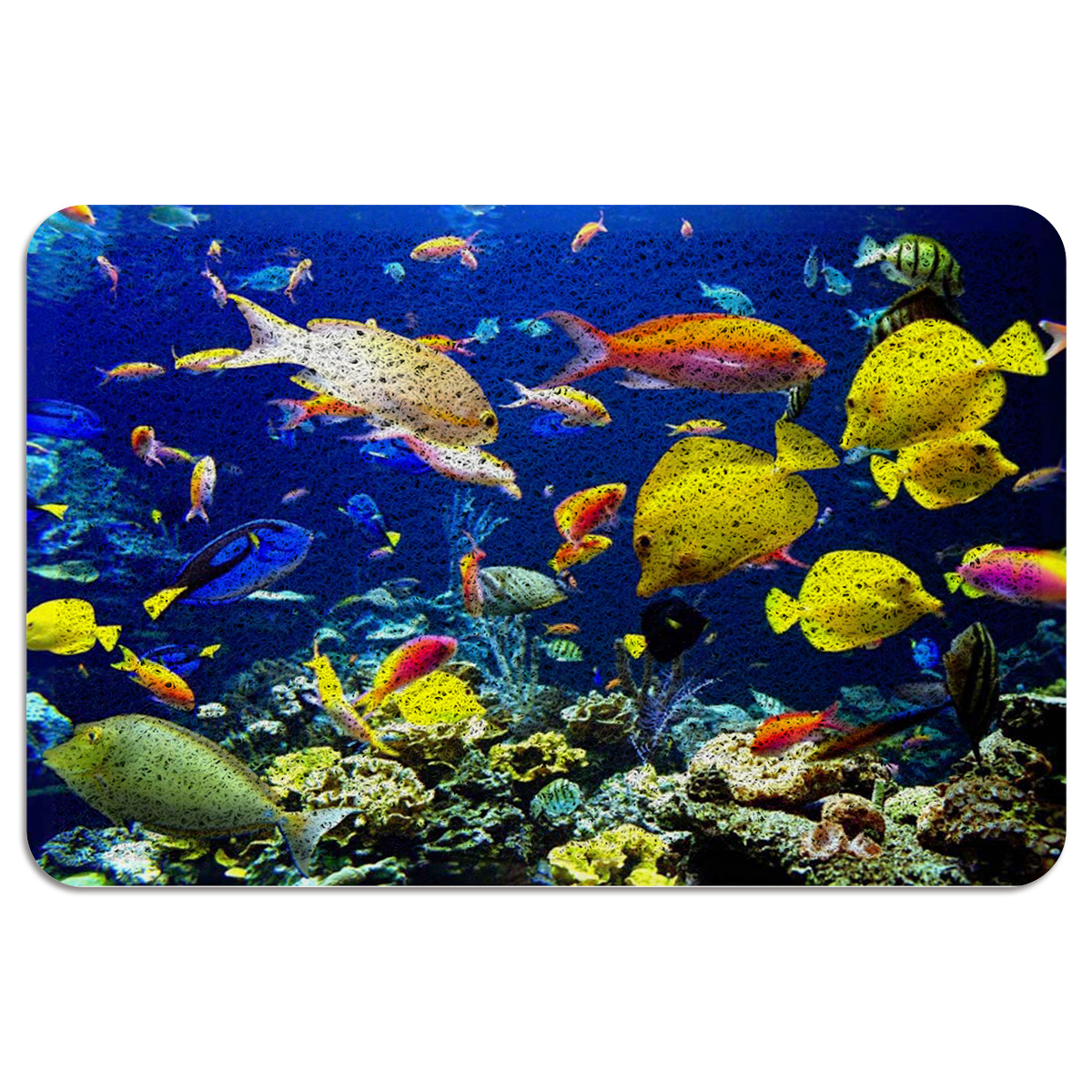 Underwater World Fish Kitchen Rugs Mats