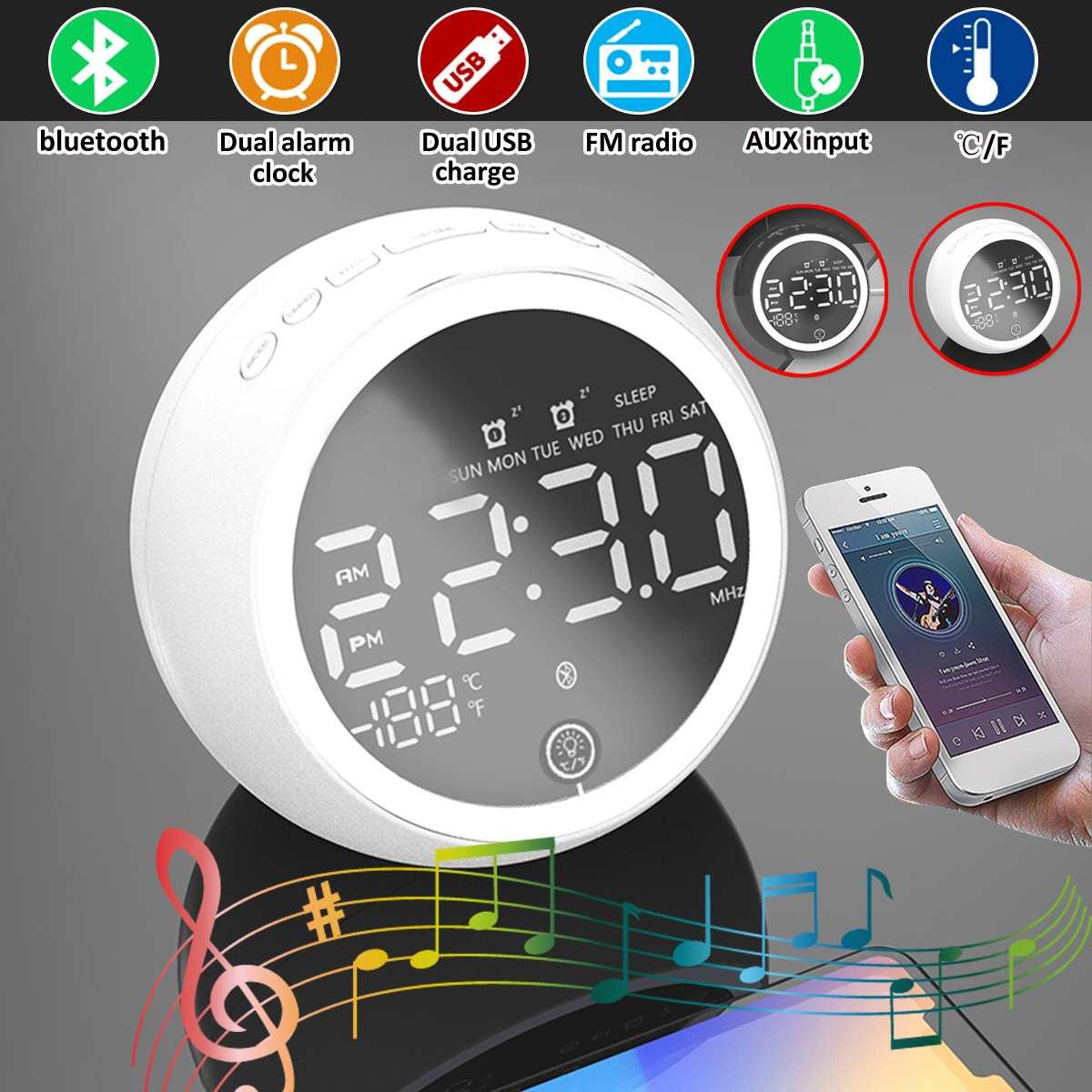 Alarme duplo digital led, sem fio, bluetooth, alto-falante, rádio fm + carregador usb, porta de carregamento, reprodutor de música, temperatura de soneca