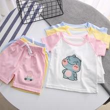 Outwear Girls Cotton Cartoon T-Shirt Suit Pajama-Set Shorts And Baby-Boys Children's