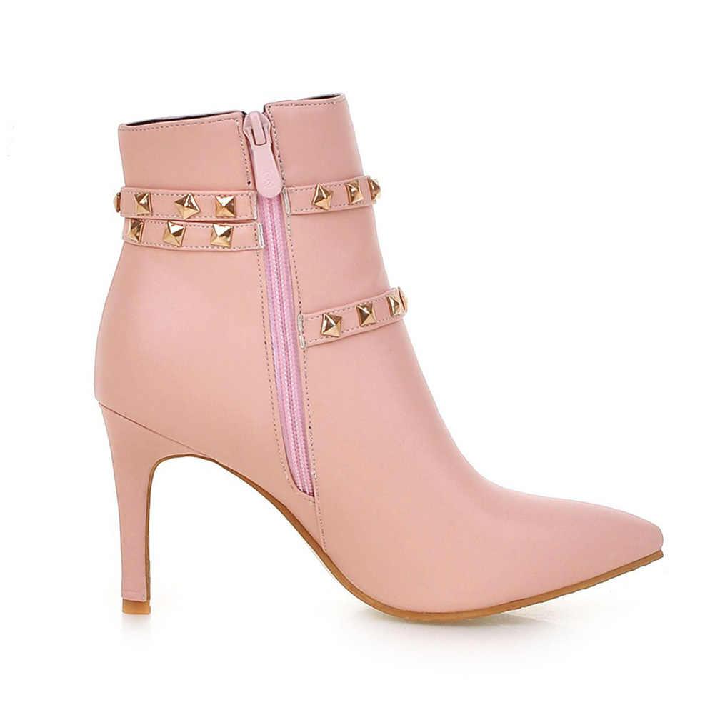 Kadın 2020 yüksek kalite büyük boy 43 zarif ince yüksek topuklu ayakkabılar kadın botları kadın ayakkabısı perçinler bayan yarım çizmeler kadın