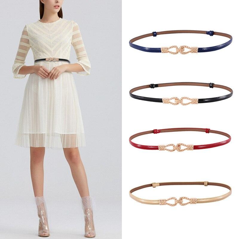 Women's Belt Cowhide Simple And Versatile Leather Dress Shirt Twist Buckle Adjustable Belt Decorative Belt