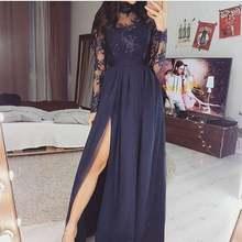 Женское вечернее платье с длинным рукавом синее аппликацией