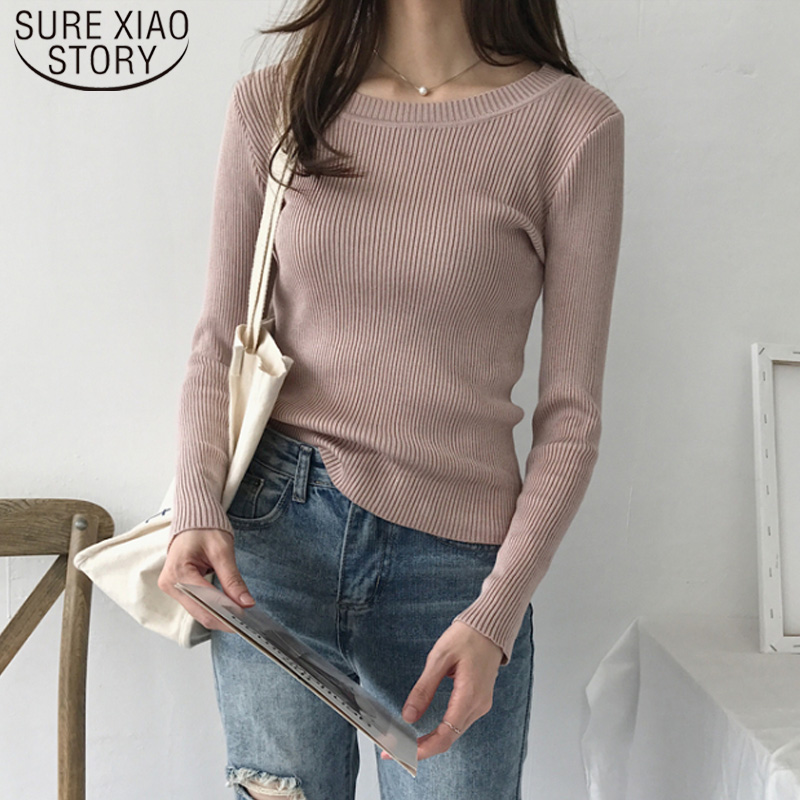 New Elastic Korean Winter 2019 Slim Round Neck Stripe Pullover Long Sleeve Autumn Knitting Sweaters Solid Warm Slim 7350 50