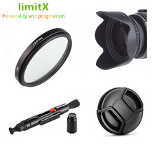 58mm UV filtre Lens Hood + Lens kapağı + temizleme kalemi Canon EOS 90D 1500D 2000D 3000D 4000D Rebel T7 T100 18 55mm lens ile