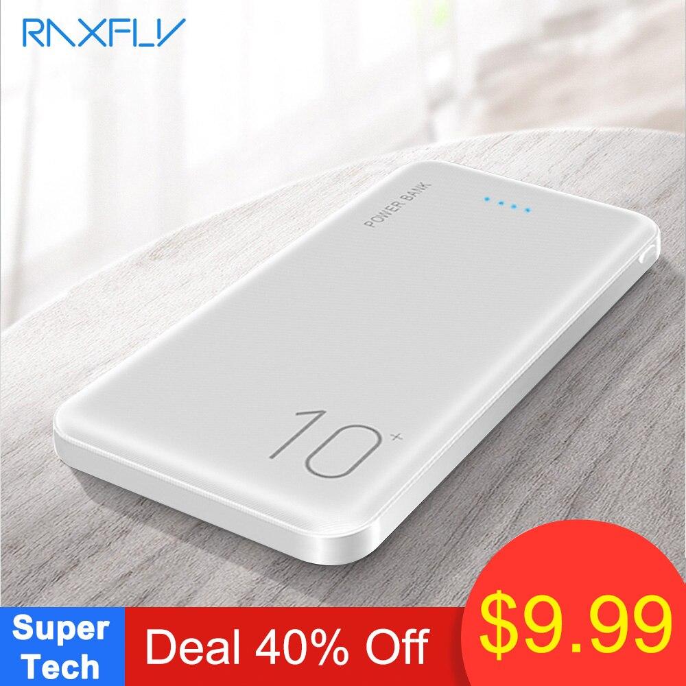 RAXFLY 10000mAh Banco de Potência Para Todos Telefone Móvel Dual USB Powerbank Carregador Portátil de Carregamento de Bateria Externa Ultra Fino