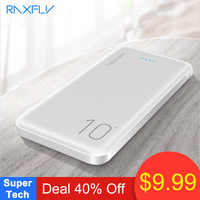 RAXFLY 10000mAh Power Bank For All Mobile Phone Dual USB Portable Charging External Battery Pack Ultra Thin Charger Powerbank